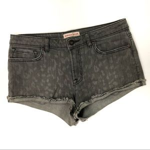 Rebecca Taylor Gray Cheetah Print Jean Shorts Chic